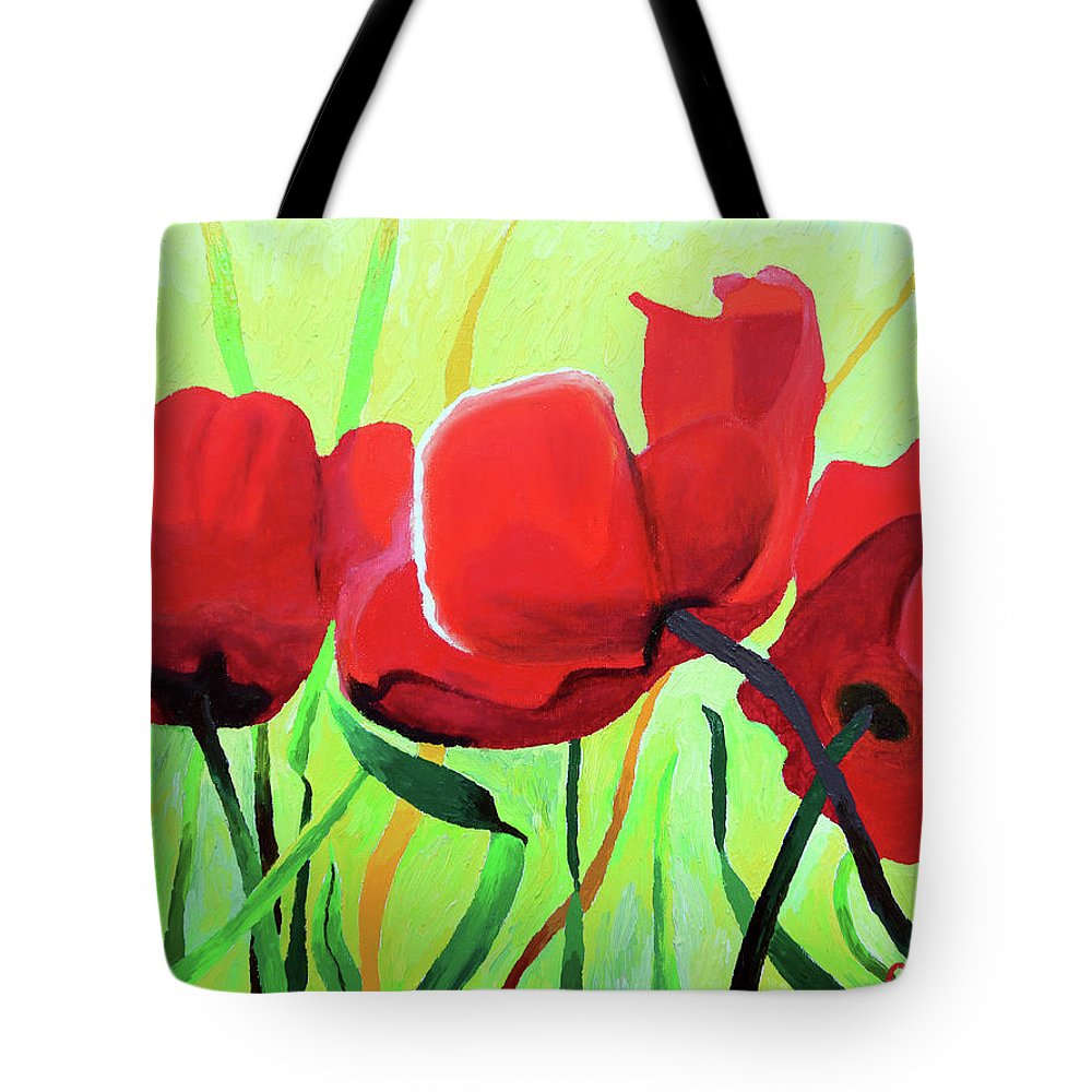 Flowers Tote Bag featuring the painting Red Anemonies by Chris Torre