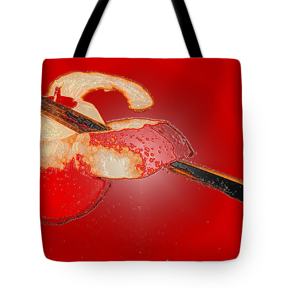 Apple Tote Bag featuring the digital art Red Apple by Ian MacDonald