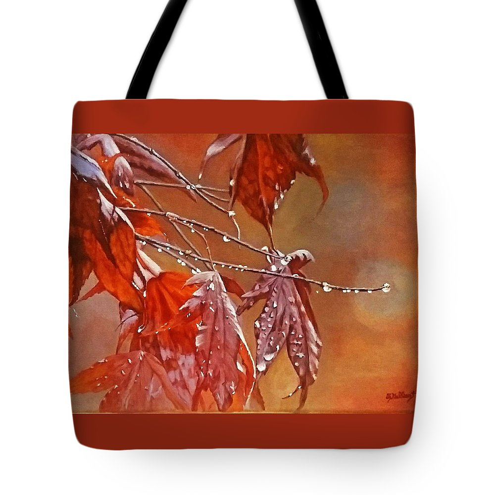 Acrylic Tote Bag featuring the painting Red Autumn by Sheryl Gallant