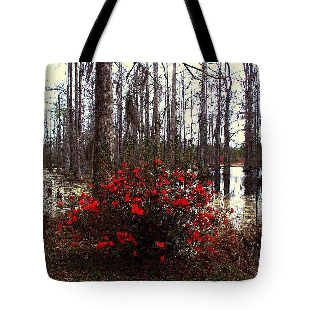Azaleas Tote Bag featuring the photograph Red Azaleas In The Swamp by Susanne Van Hulst