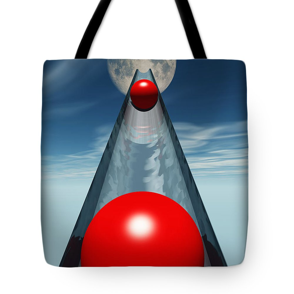 Abstract Tote Bag featuring the digital art Red Balls From Space by Richard Rizzo