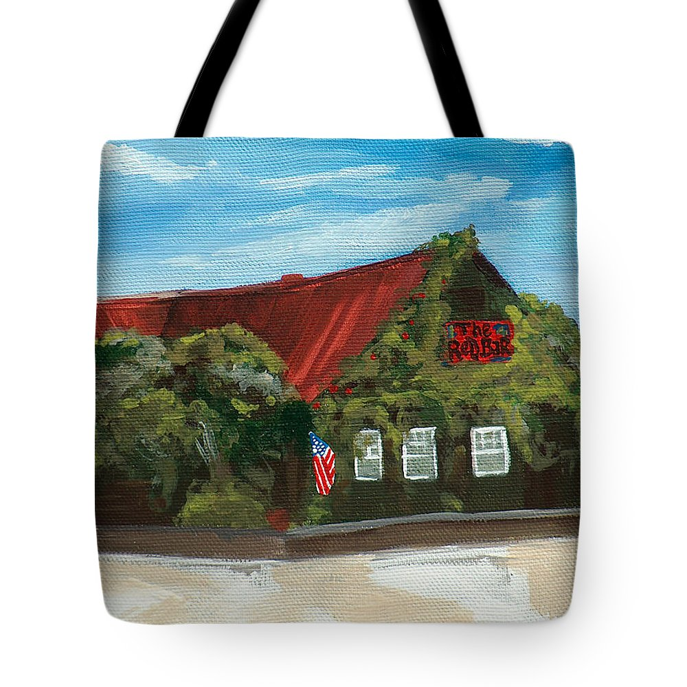 Red Bar Tote Bag featuring the painting Red Bar - Blue Sky by Racquel Morgan