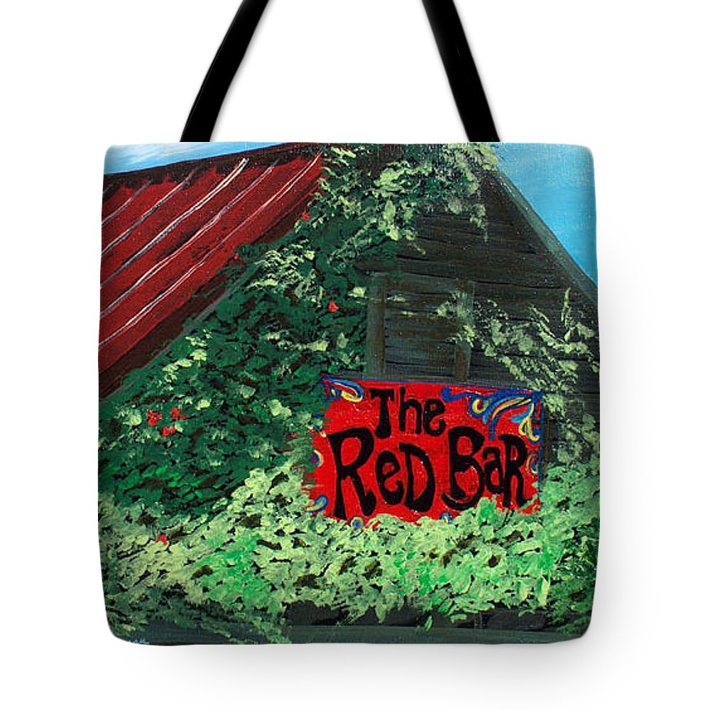 Red Bar Tote Bag featuring the painting Red Bar - Grayton Beach by Racquel Morgan