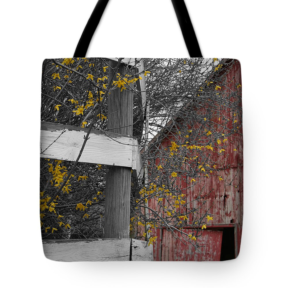 Landscape Tote Bag featuring the photograph Red Barn And Forsythia by Dylan Punke