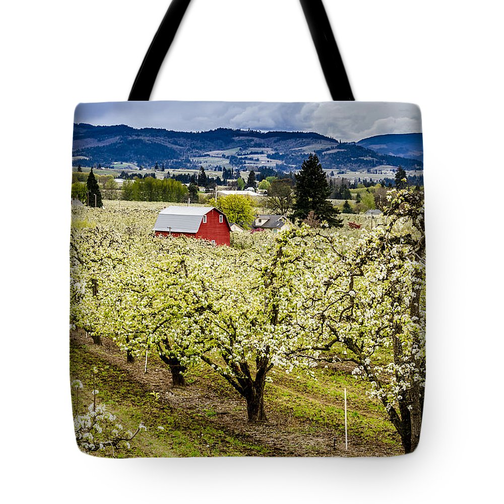 Columbia River Gorge Tote Bag featuring the photograph Red Barn And The Pear Orchards by Teri Virbickis