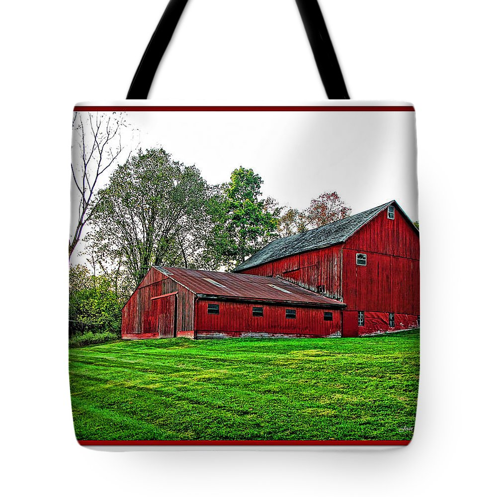 Autumn Tote Bag featuring the photograph Red Barn In Ohio by Joan Minchak