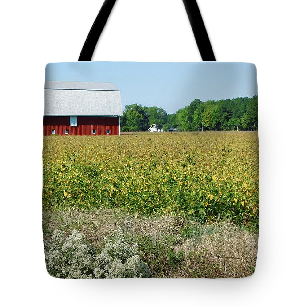 Red Barn In Pasture Tote Bag featuring the photograph Red Barn In Pasture by Emmy Vickers