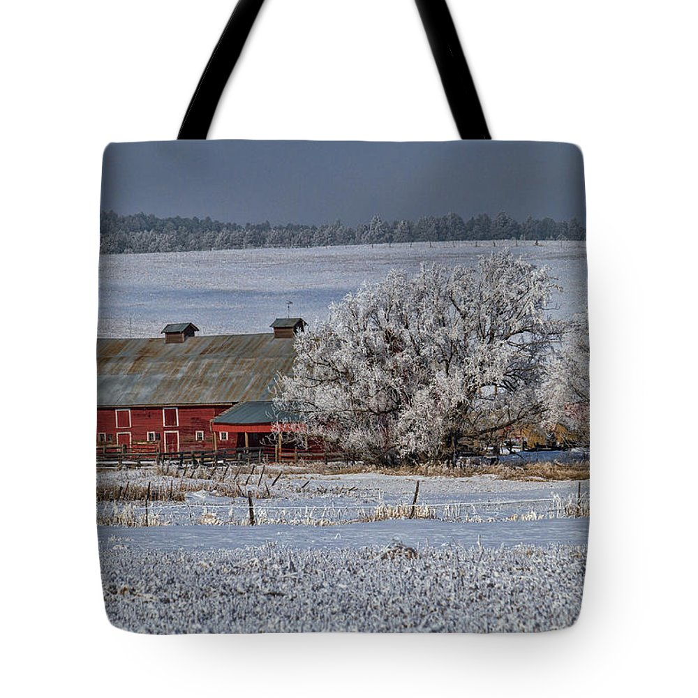 Winter Tote Bag featuring the photograph Red Barn in Winter by Alana Thrower