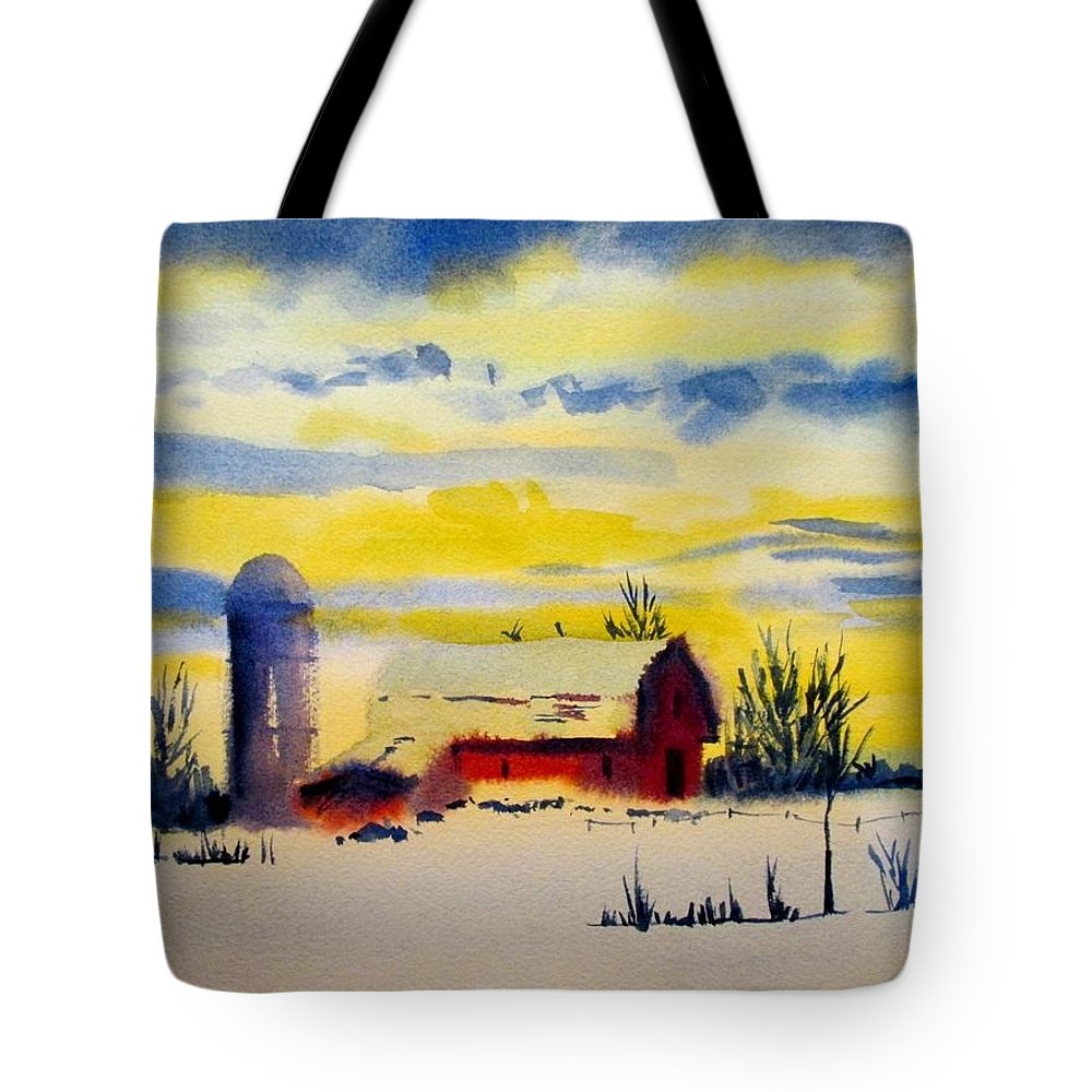 Red Barn Tote Bag featuring the painting Red Barn Sunrise by Linda Emerson