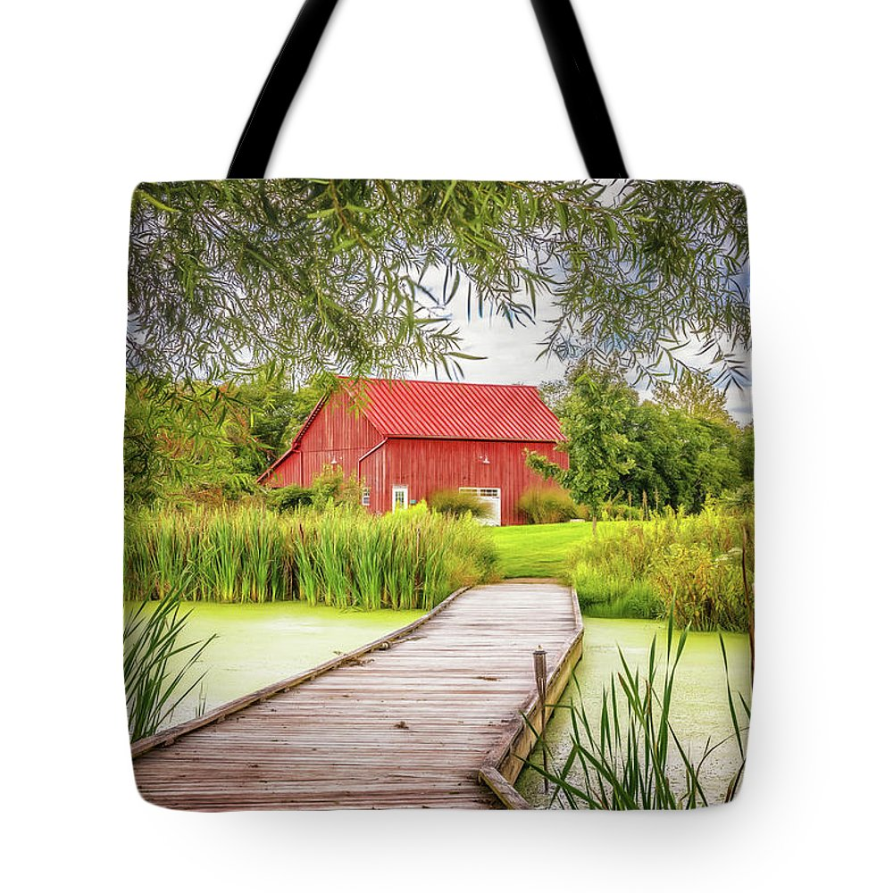 Dawes Tote Bag featuring the photograph Red Barn by Tom Mc Nemar