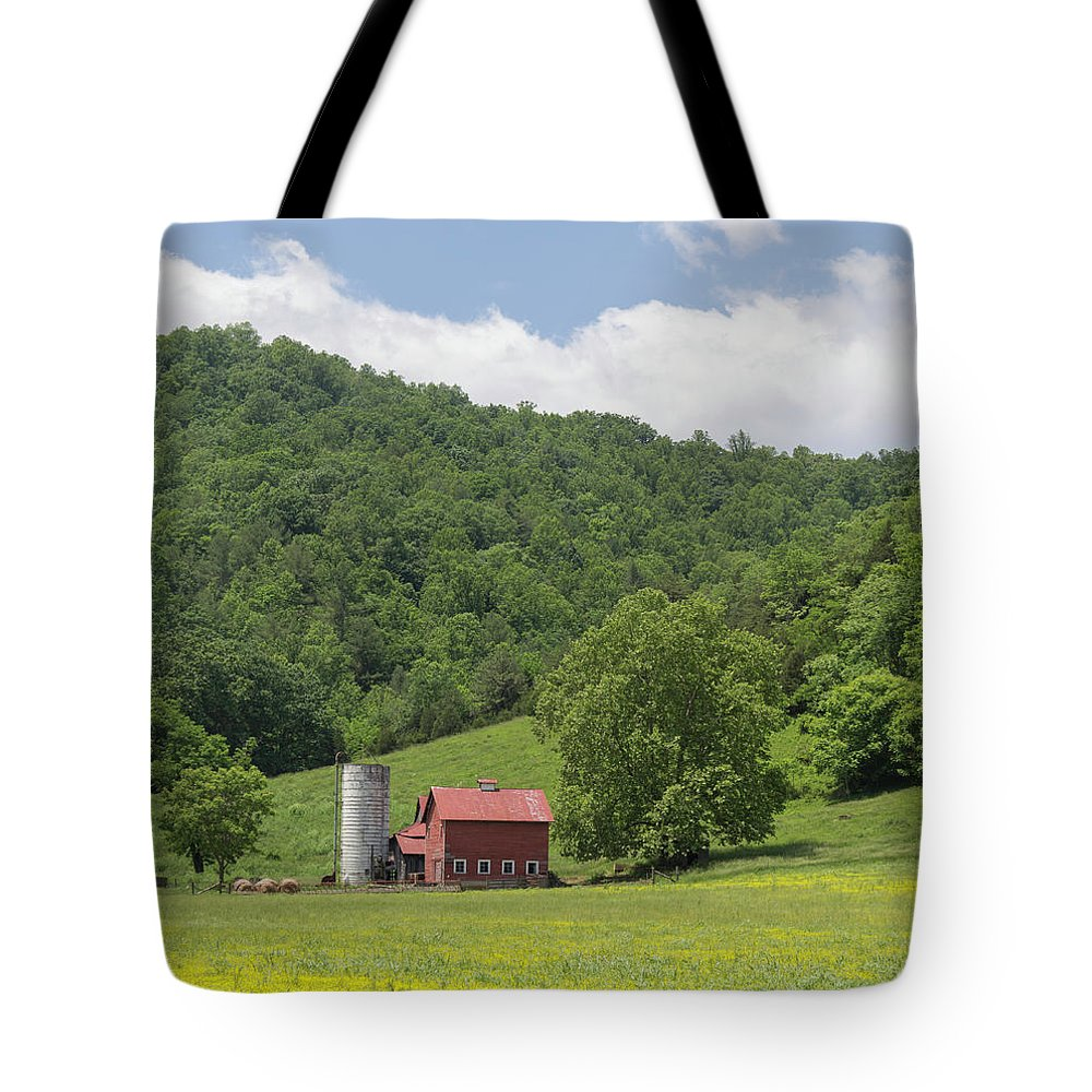 Alleghany Springs Tote Bag featuring the photograph Red Barn Yellow Buttercups by Teresa Mucha