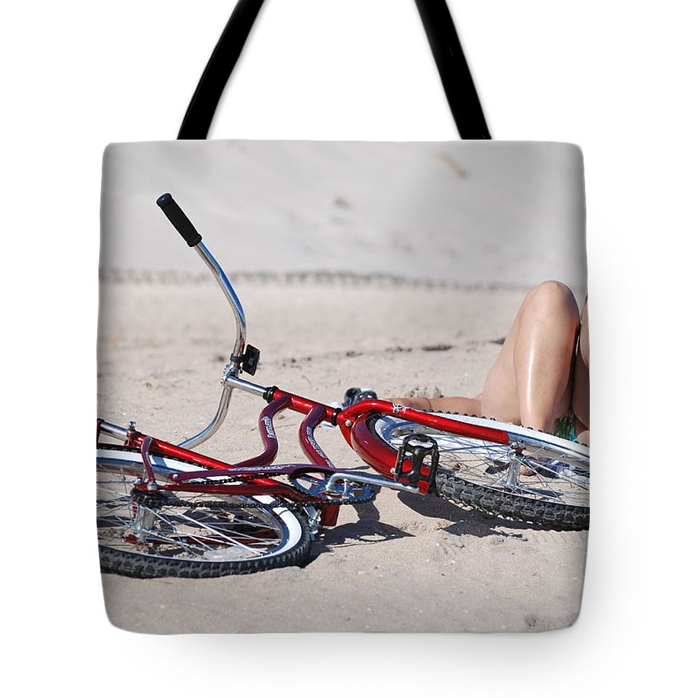 Red Tote Bag featuring the photograph Red Bike On The Beach by Rob Hans