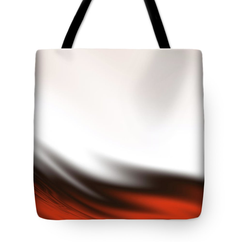 Abstract Tote Bag featuring the digital art Red, Black And White Waves by Rich Leighton