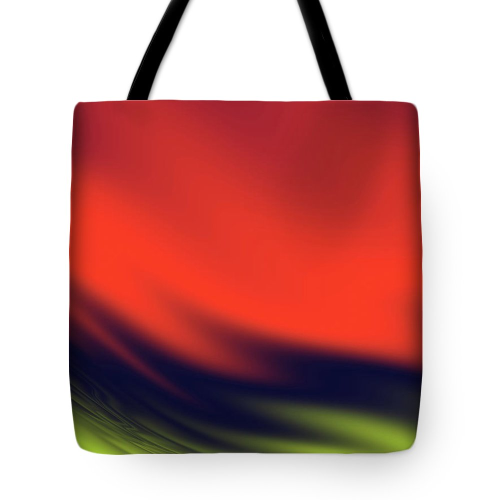 Abstract Tote Bag featuring the digital art Red, Black And Yellow Waves by Rich Leighton