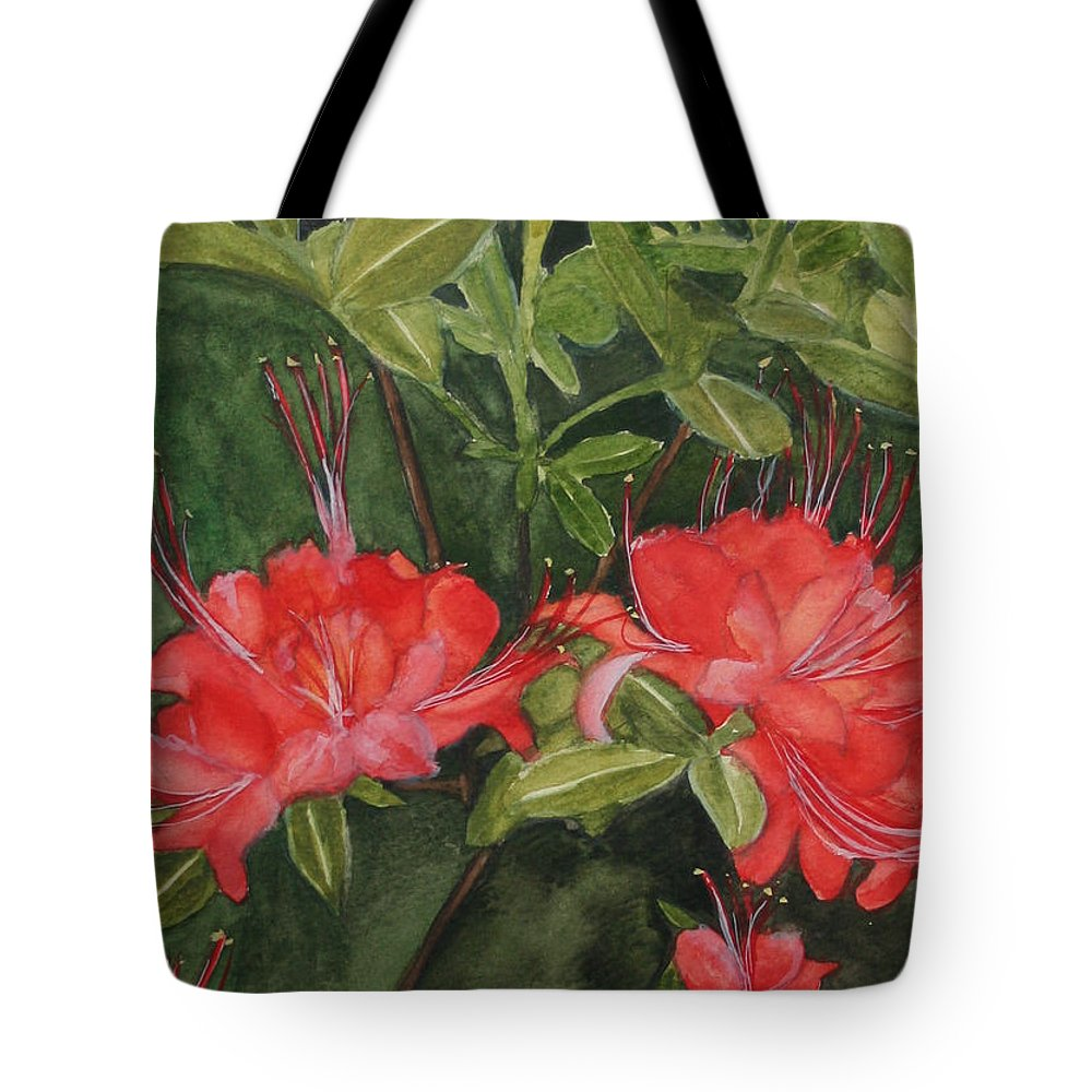 Flowers Tote Bag featuring the painting Red Blooms On The Parkway by Jean Blackmer