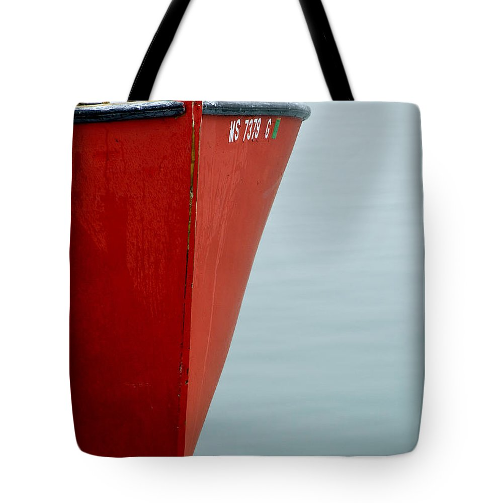Red Tote Bag featuring the photograph Red Boat by Charles Harden