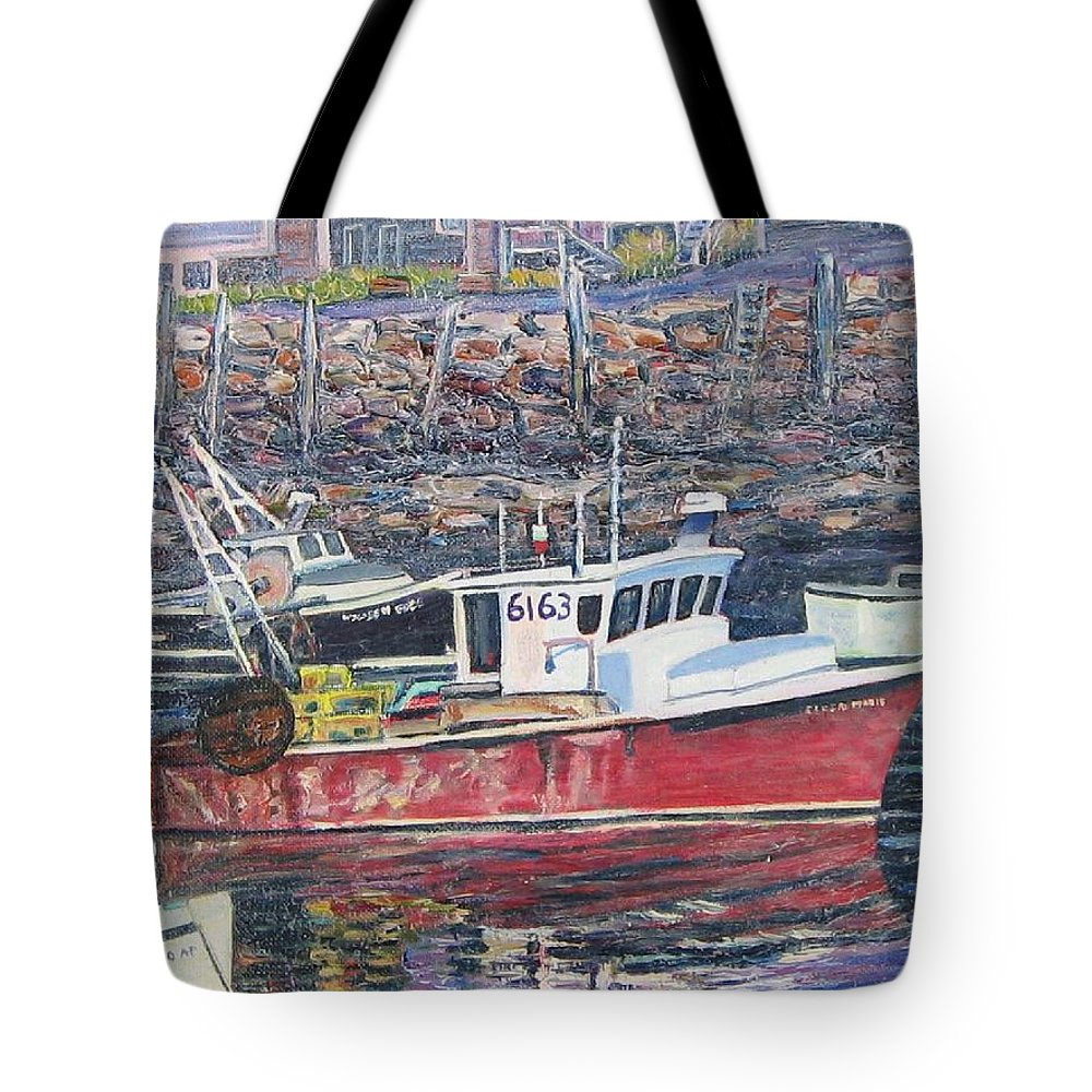 Boat Tote Bag featuring the painting Red Boat Reflections by Richard Nowak
