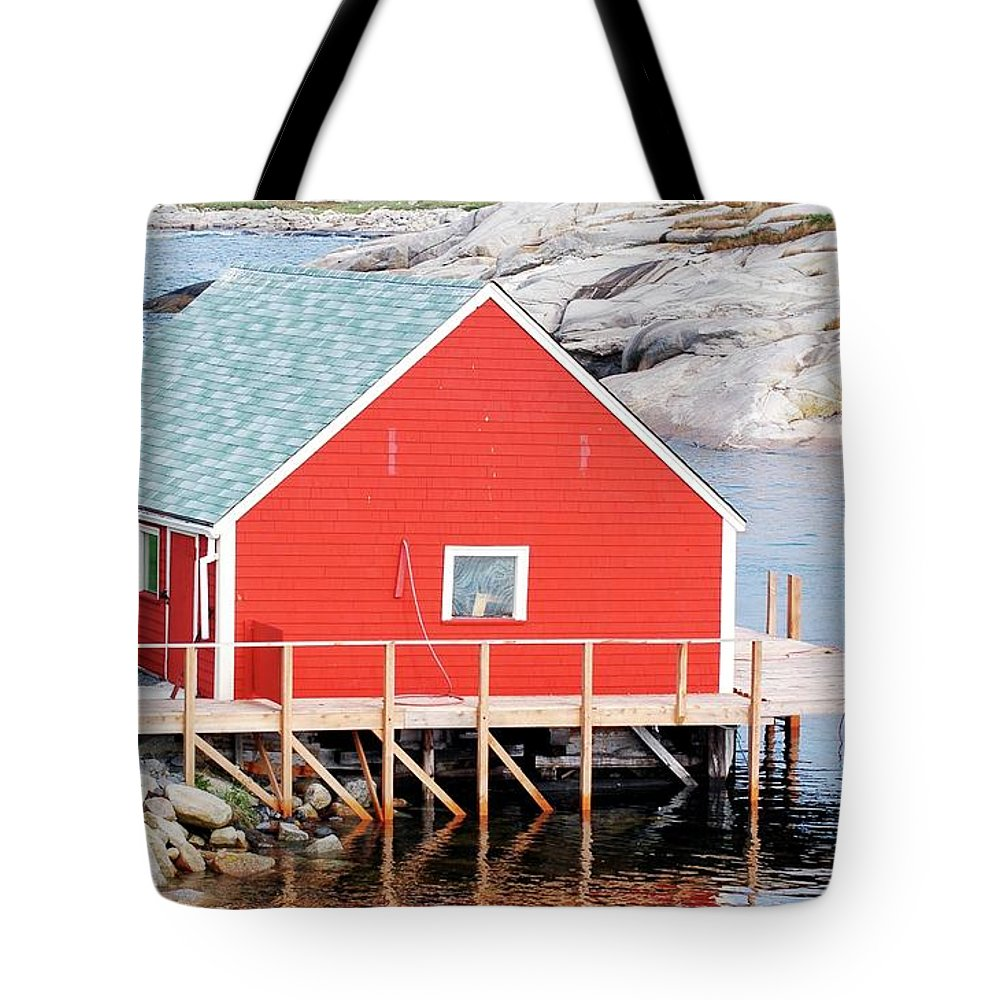 Red Tote Bag featuring the photograph Red Boathouse by Kathleen Struckle