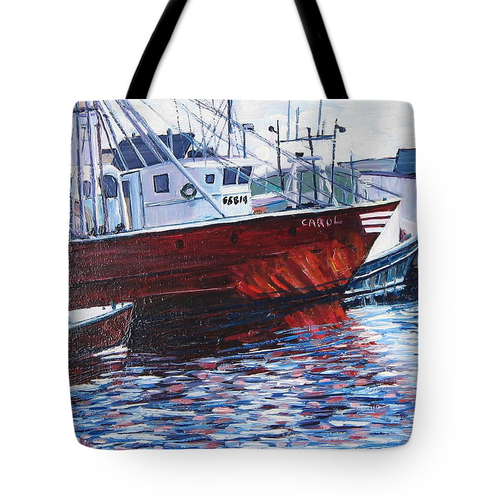 Boats Tote Bag featuring the painting Red Boats by Richard Nowak