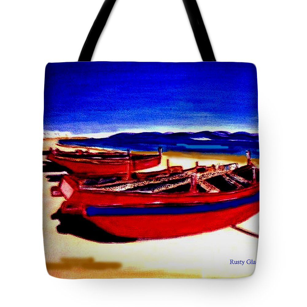 Boats Tote Bag featuring the painting Red Boats by Rusty Gladdish
