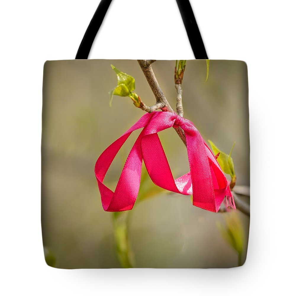 Bow Tote Bag featuring the photograph Red Bow In A Tree by Alain De Maximy
