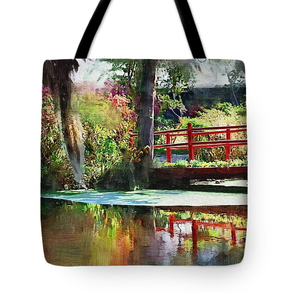 Red Bridge Tote Bag featuring the photograph Red Bridge by Donna Bentley