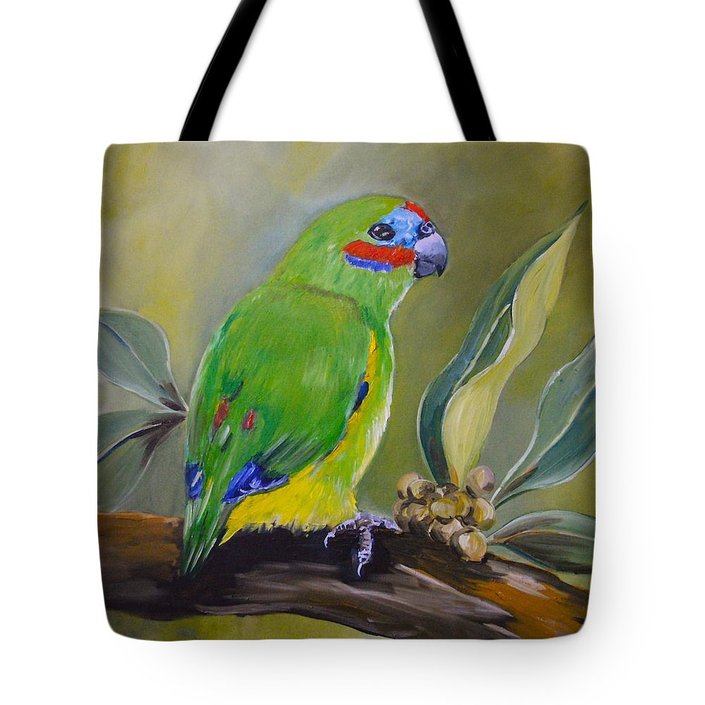 Double Eyed Fig Parrot Red Browed Fig Parrot Daintree Australian Wild Life Tote Bag featuring the painting Red Browed Fig Parrot by Cynthia Farr