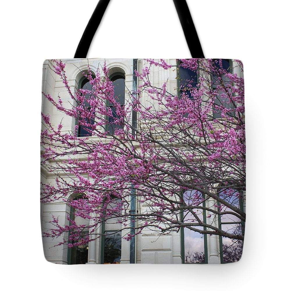 Red Buds Tote Bag featuring the photograph Red Buds And San Antonio City Hall by Carol Groenen