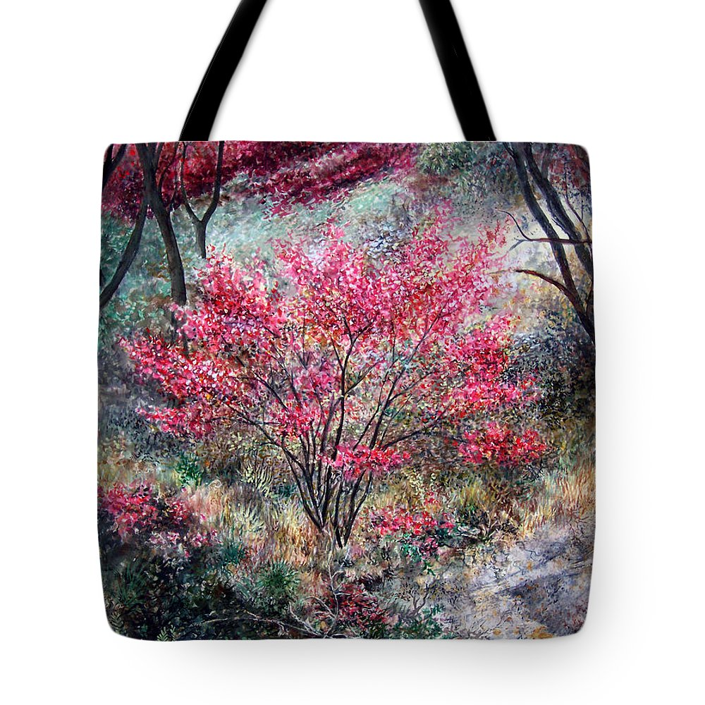 Landscape Tote Bag featuring the painting Red Bush by Valerie Meotti