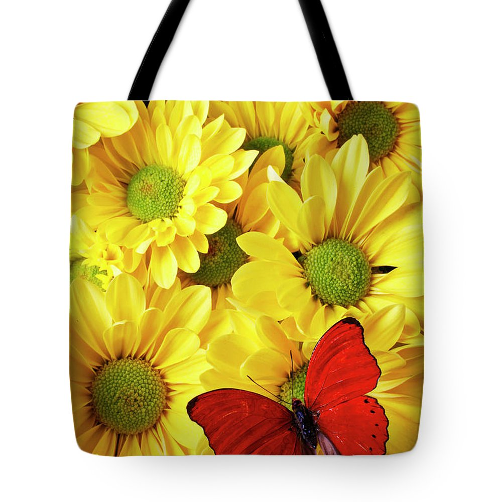 Red Butterfly Yellow Mums Flowers Tote Bag featuring the photograph Red Butterfly On Yellow Mums by Garry Gay