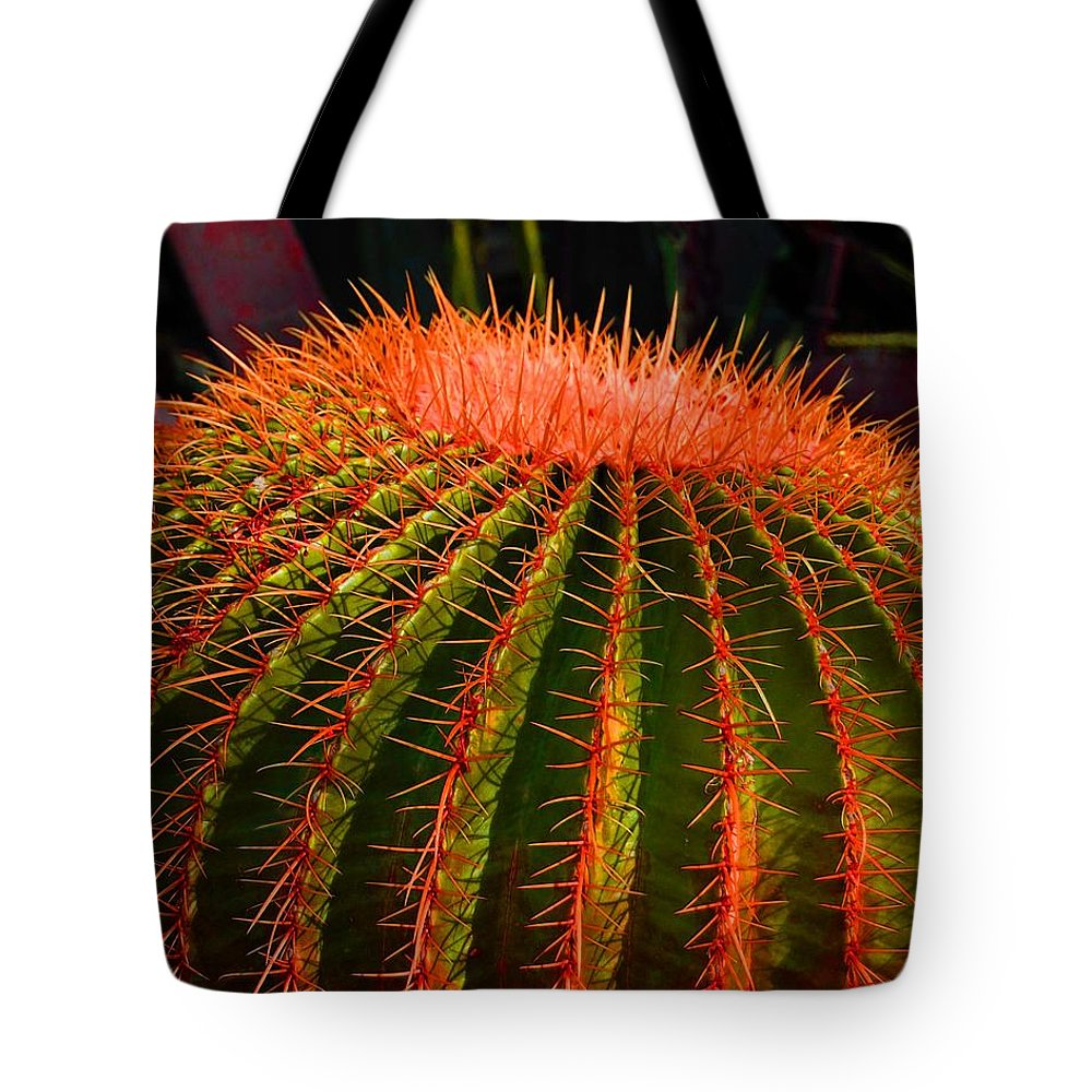 Cactus Tote Bag featuring the photograph Red Cactus by John Malmquist