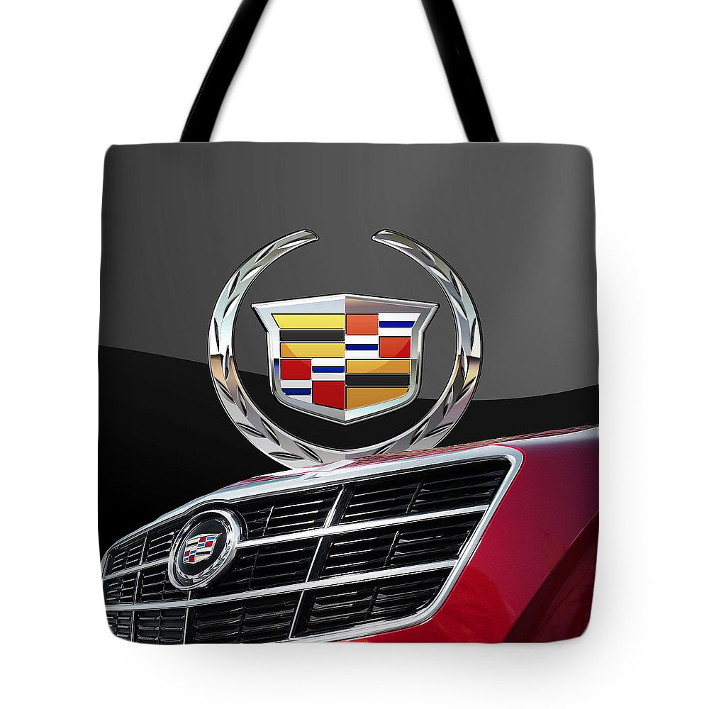 'auto Badges' By Serge Averbukh Tote Bag featuring the photograph Red Cadillac C T S - Front Grill Ornament and 3D Badge on Black by Serge Averbukh