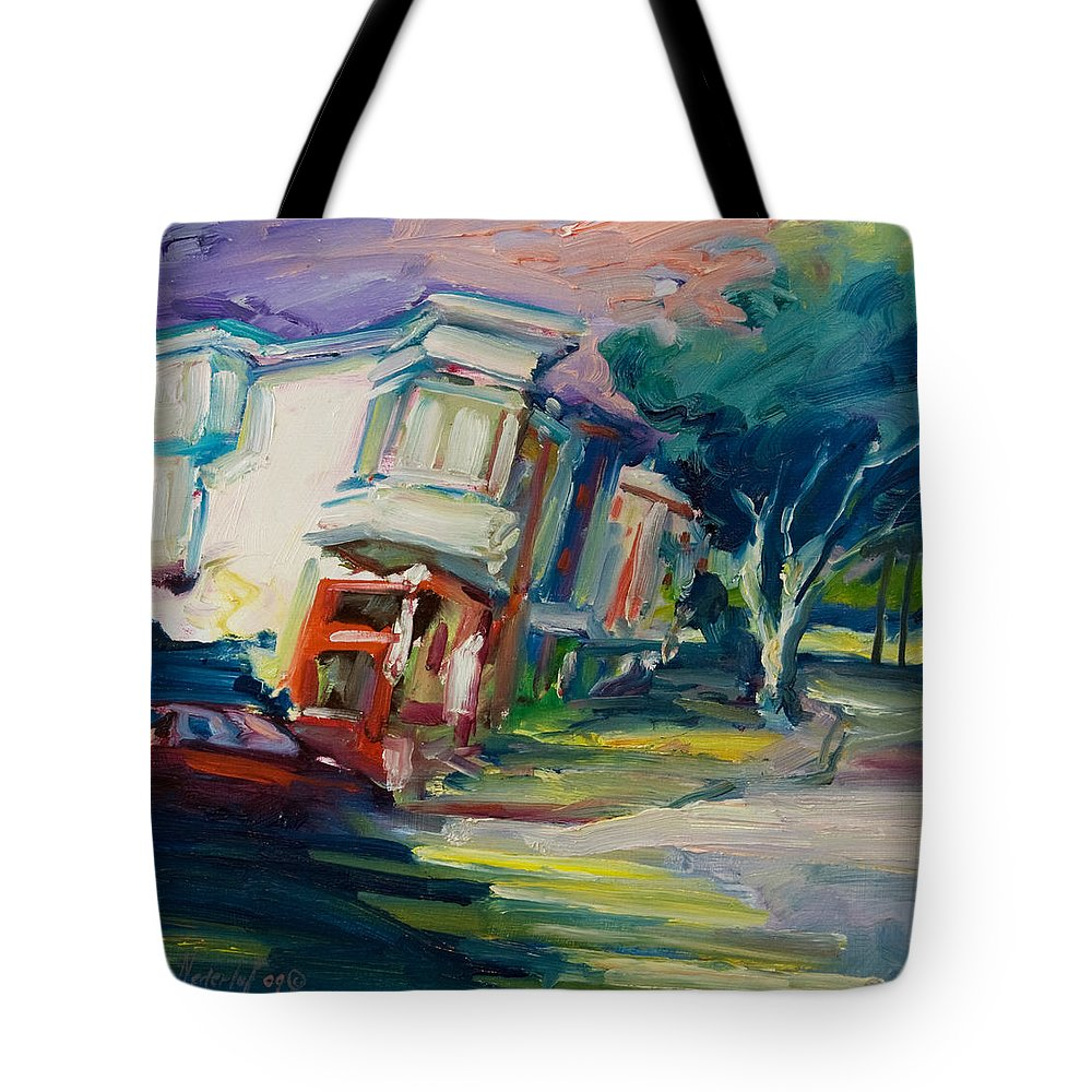 Trees Tote Bag featuring the painting Red Cafe by Rick Nederlof