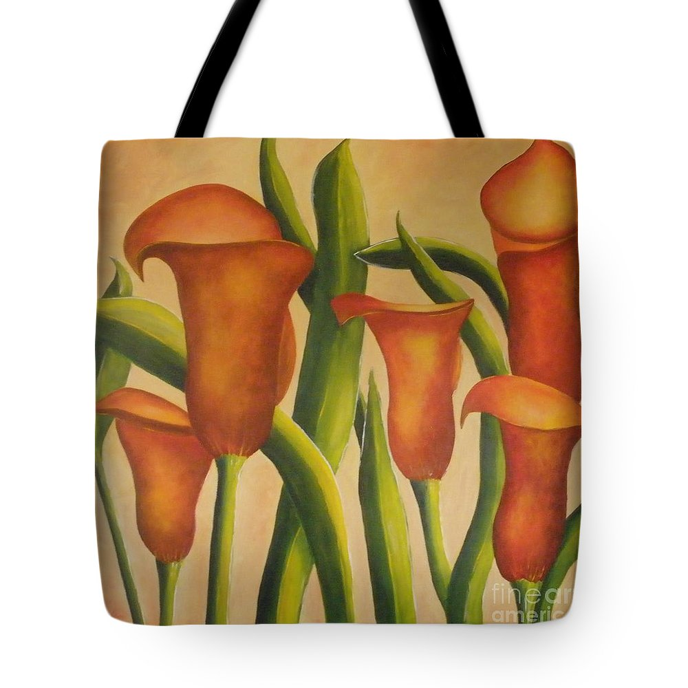 Calla Tote Bag featuring the painting Red Callas by Jeanie Watson