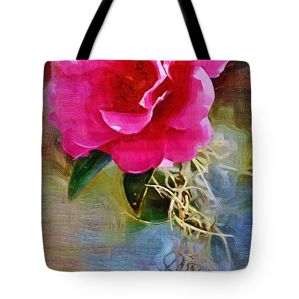Flowers Tote Bag featuring the photograph Red Camellia by Donna Bentley