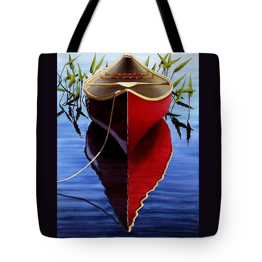 Red Canoe In Pickerel Weeds Tote Bag featuring the painting Red Canoe In Pickerel Weeds by Ed Novak