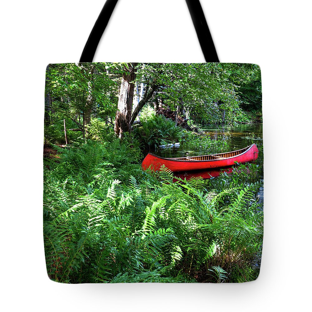 Red Canoe In The Adk Tote Bag featuring the photograph Red Canoe In The Adk by David Patterson