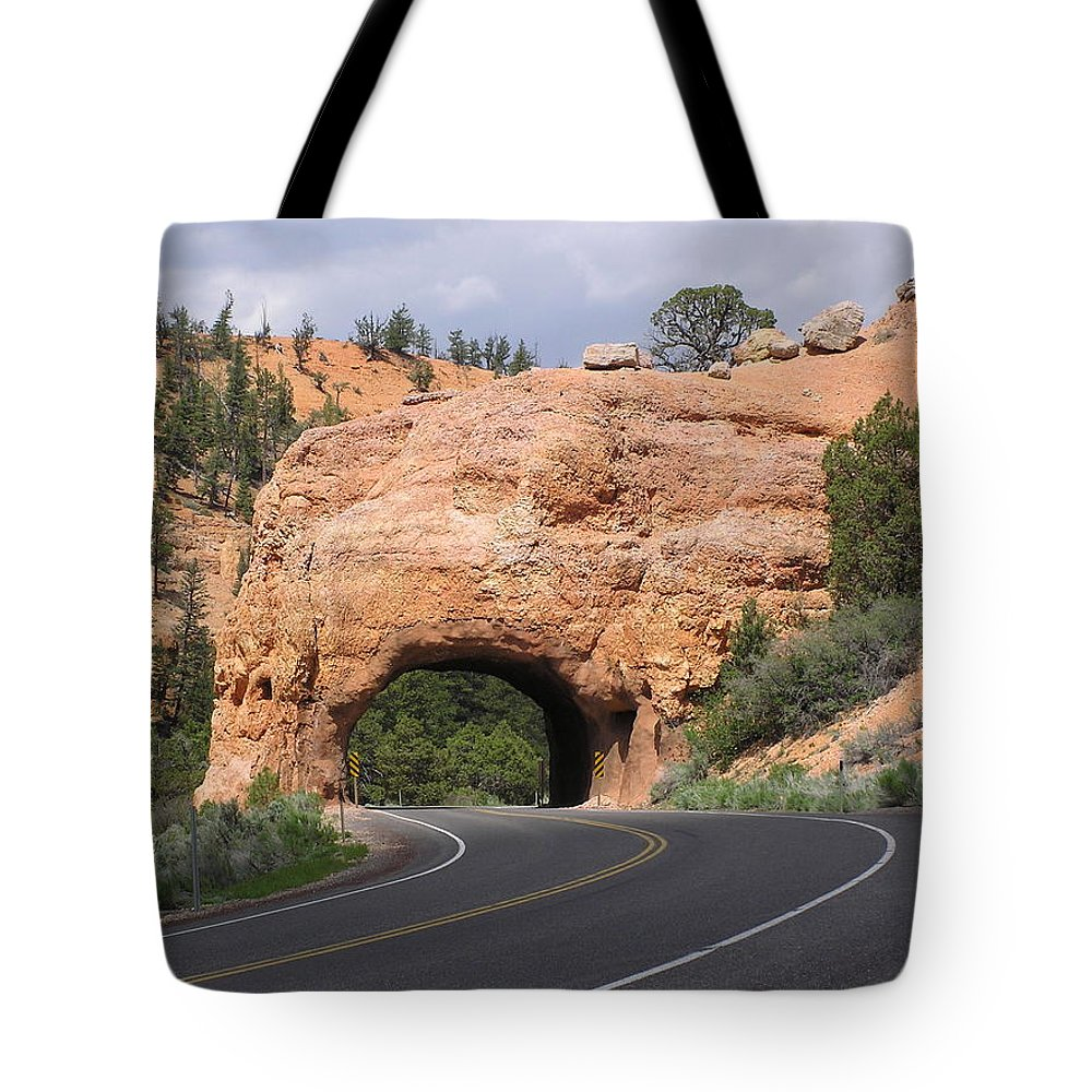 Tunnel Tote Bag featuring the photograph Red Canyon Tunnel by Louise Magno