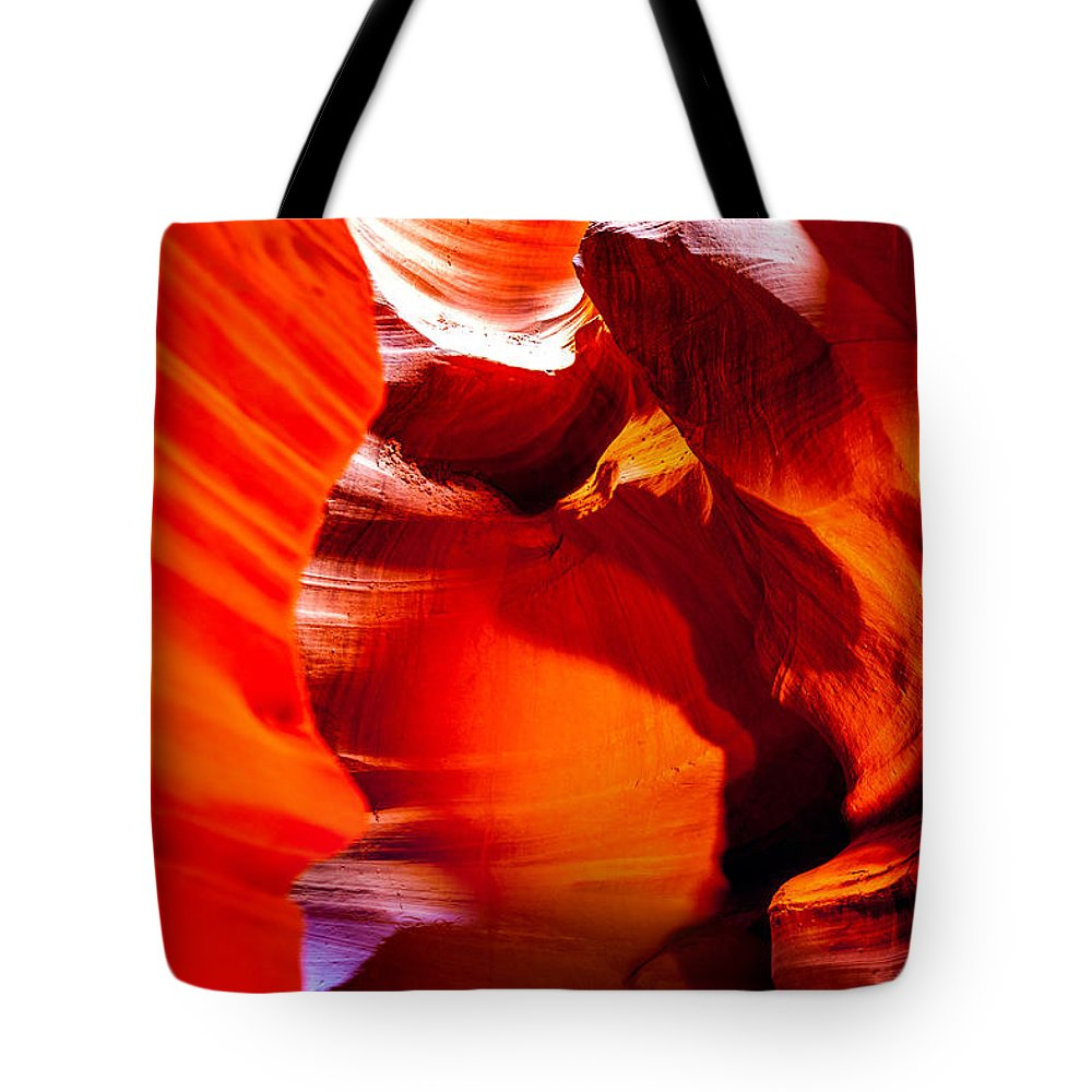 Antelope Canyon Tote Bag featuring the photograph Red Canyon Walls by Az Jackson