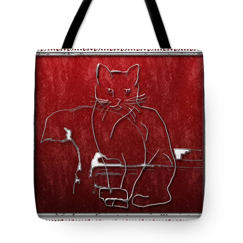 Cats Tote Bag featuring the digital art Red Cats by Arline Wagner