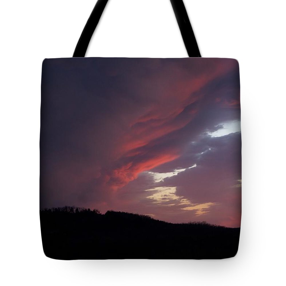 Red Clouds Tote Bag featuring the photograph Red Clouds 2 by Toni Berry