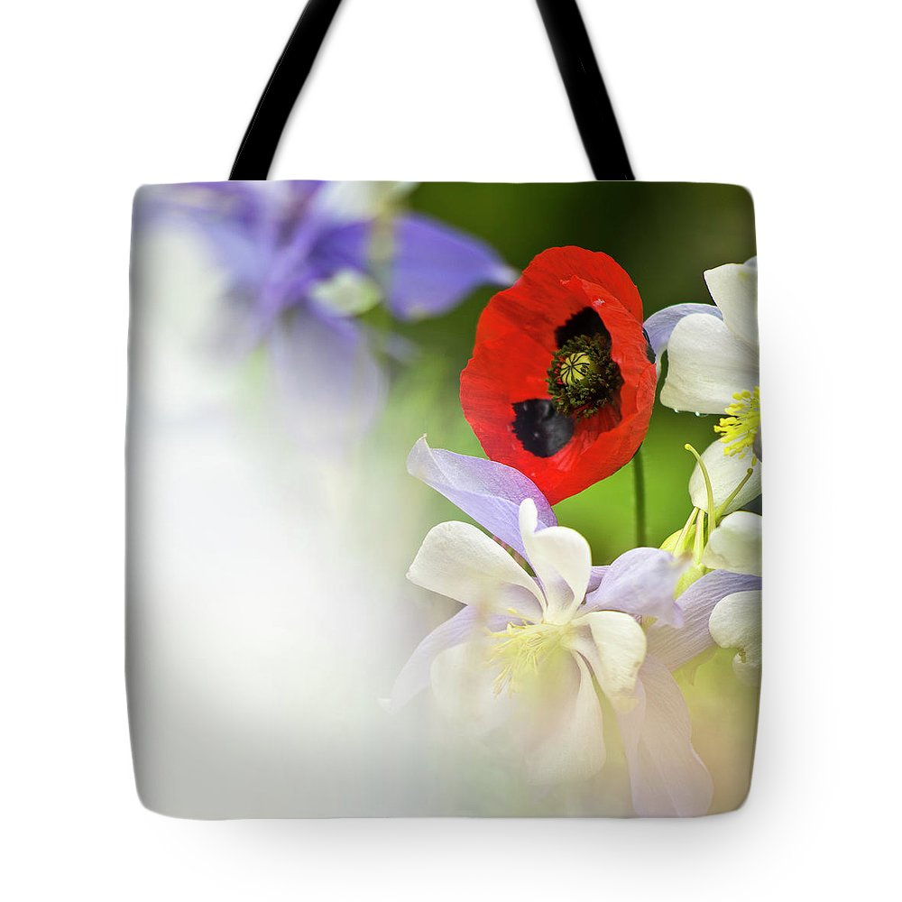 Poppy Tote Bag featuring the photograph Red Corn Poppy by Heiko Koehrer-Wagner