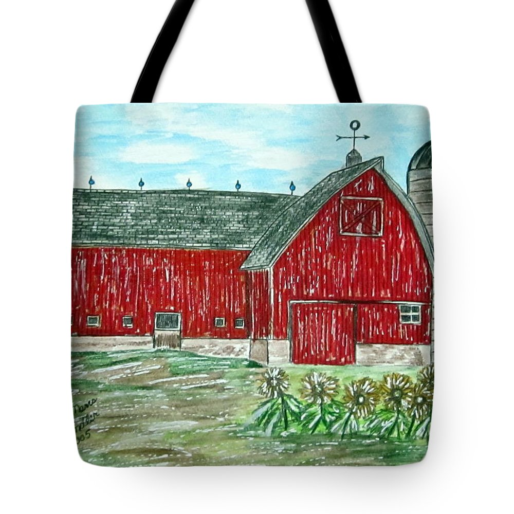 Red Tote Bag featuring the painting Red Country Barn by Kathy Marrs Chandler