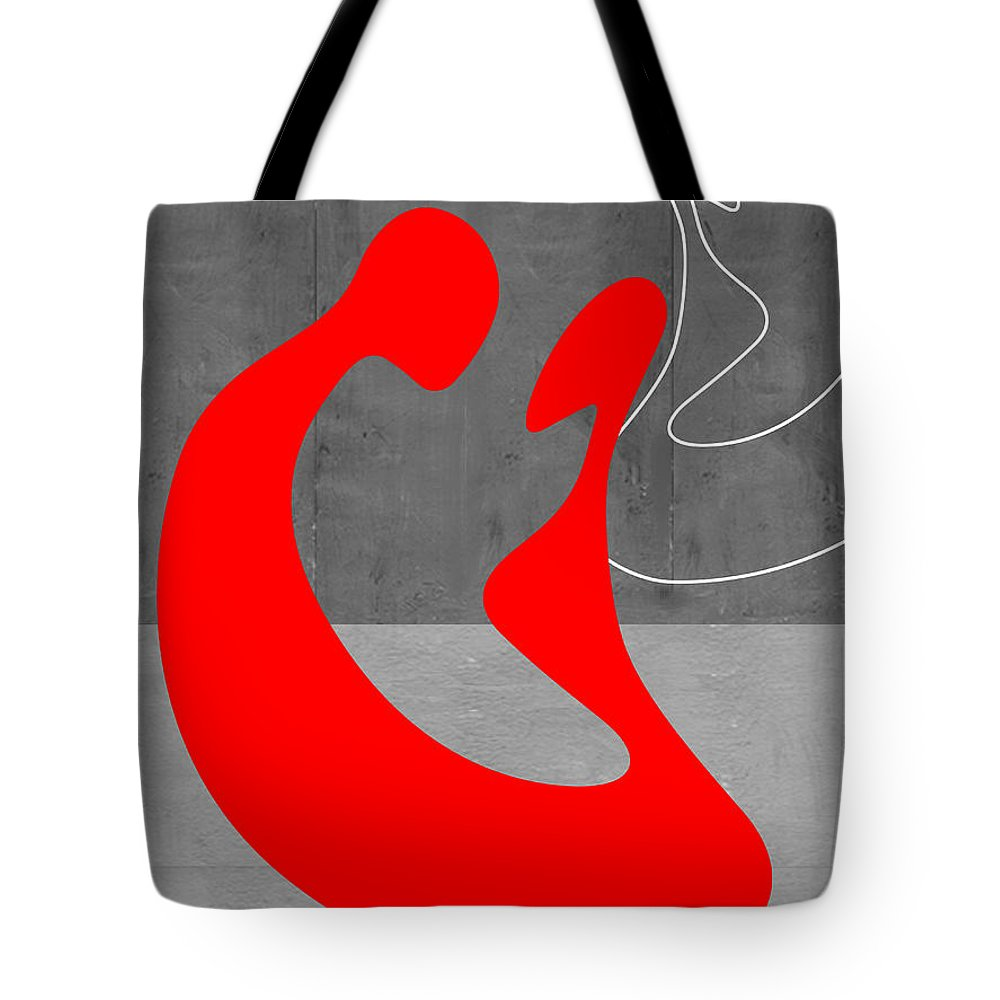 Abstract Tote Bag featuring the painting Red Couple by Naxart Studio