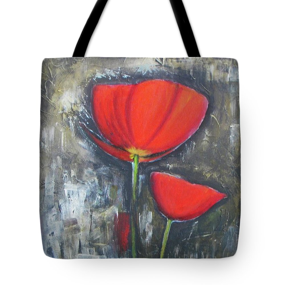 Abstract Tote Bag featuring the painting Red Couple by Vesna Antic