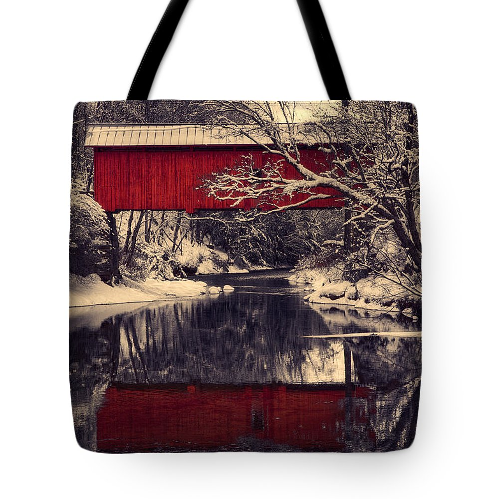 #jefffolger #vistaphotography Tote Bag featuring the photograph Red Covered Bridge In Winter by Jeff Folger