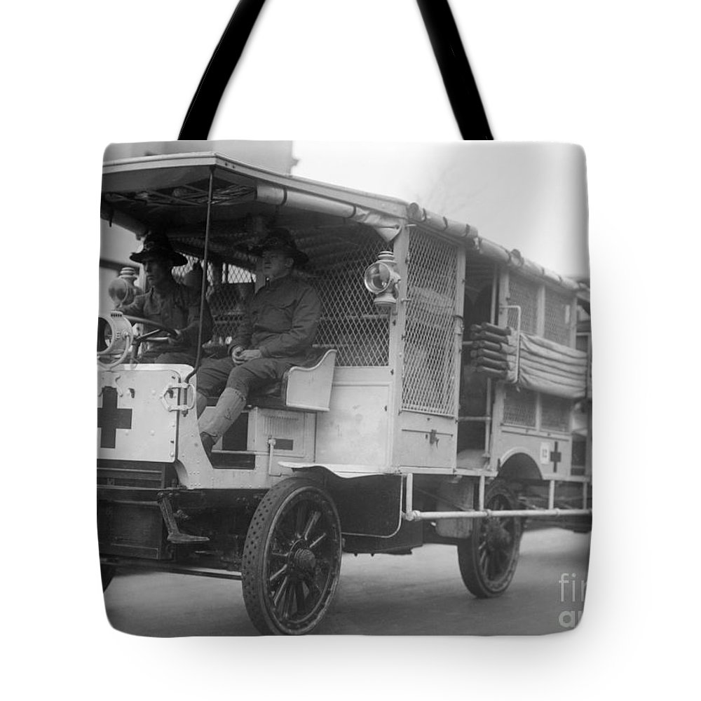 1910s Tote Bag featuring the photograph Red Cross: Ambulance by Granger