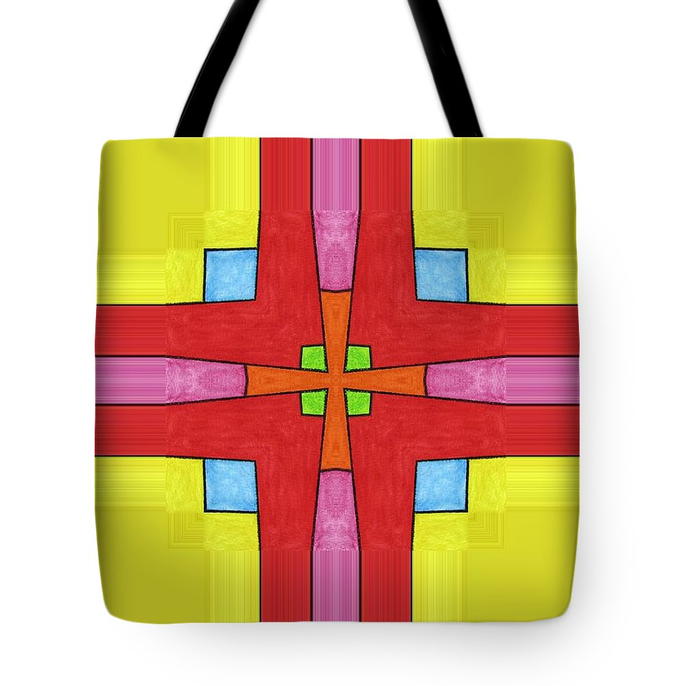 Tote Bag featuring the digital art Red Cross by Jeffrey Todd Moore