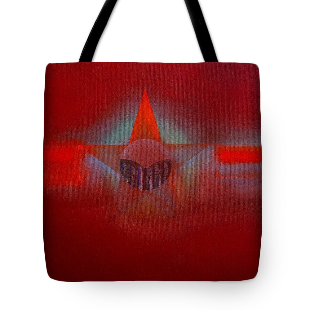 Usaaf Insignia And Idealised Landscape In Union Tote Bag featuring the painting Red Dawn by Charles Stuart