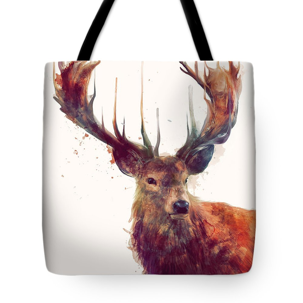 Red Deer Tote Bag featuring the painting Red Deer by Amy Hamilton